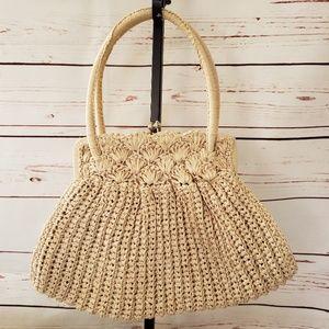 Vintage Mantessa woven clutch purse tan
